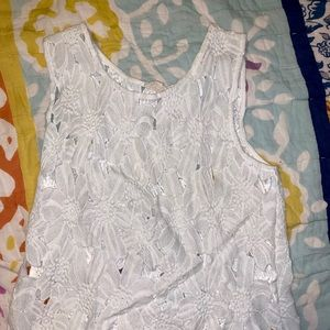 White Crochet Floral Top